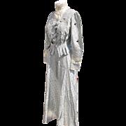 Edwardian Dress Two Piece Taffeta Fabric Hand Tatted Lace Buttons Provenance
