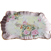 Limoges Roses Porcelain Tray with Roses and Provenance