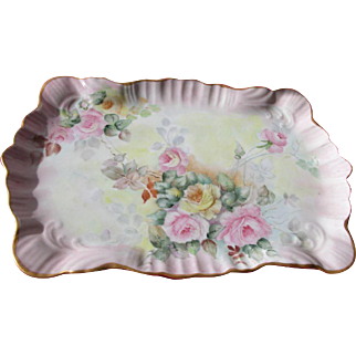 SALE Limoges Roses Porcelain Tray with Roses and Provenance