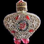 SALE Jeweled Czechoslovakian Perfume Bottle Mini Red Rhinestones Filigree Enamel