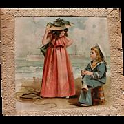 SALE Die Cut Card with Children at Ocean 1900 Scrapbook Paper Frances Brundage