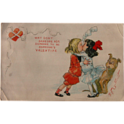 SALE Valentine's Day Postcard Artist Signed Outcault Tucks 1906 Buster Brown