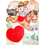 SALE Vintage Valentine's Day Card Cowboy Dog on Horse