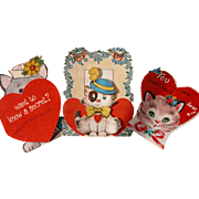 Valentine's Greeting Cards with Cats Kittens Three Cards Total