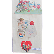 SALE Vintage Hanging Valentine Card 1905 Hearts and Cherubs