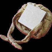 Compact Purse Pouch Handbag Metallic Gold Fabric