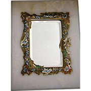 Antique French Champleve Mirror Enamel Inlay on Marble Stand Beveled Mirror