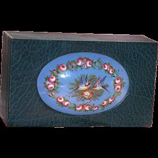 SALE French Sevres Enamel Plaque on Large Leather Antique Box