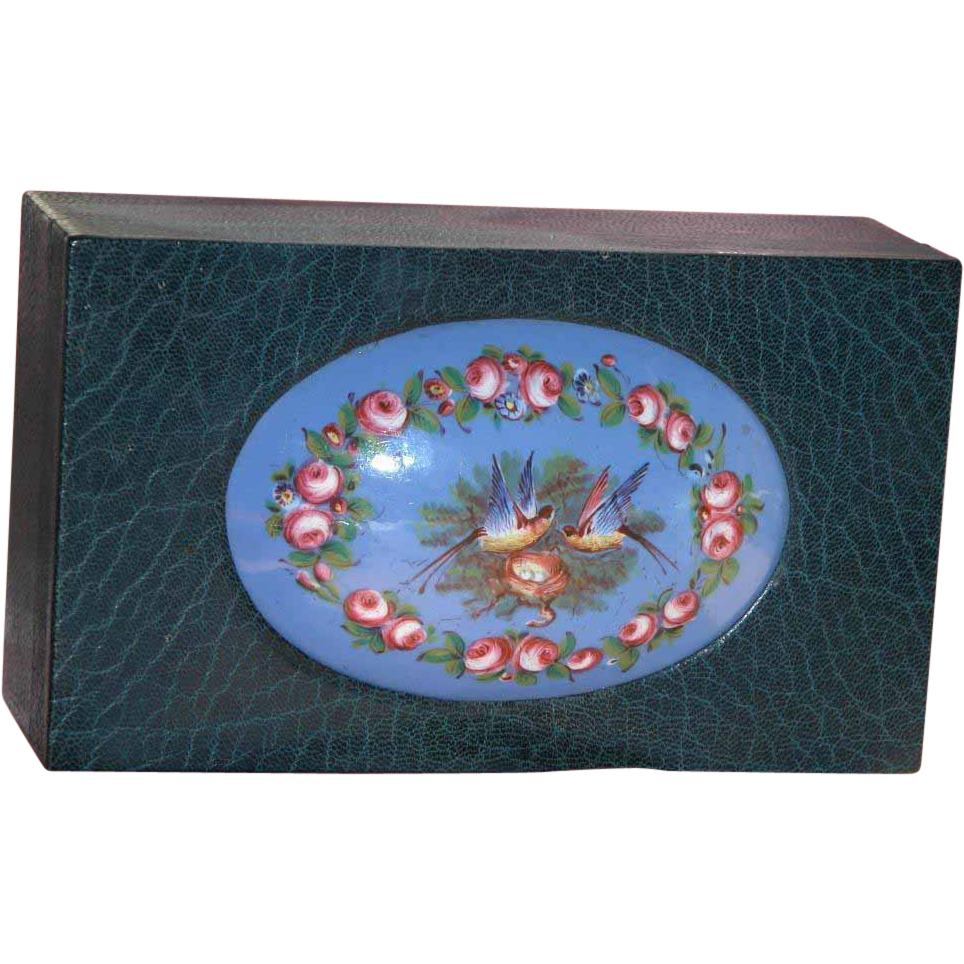 French Sevres Enamel Plaque on Large Leather Antique Box