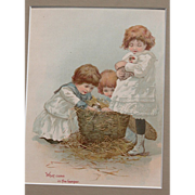 Victorian Lithograph w/ Girls and Guinea Pigs Matted Frame Ready