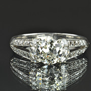 1.72 Carat Old European Cut Diamond Ring / 1.14 Center