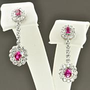 1.42 Carat Diamond and Pink Sapphire Dangle Earrings