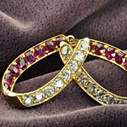 4 Carat Old Mine Cut Ruby and Diamond Earrings