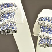 4 Carat Sapphire and Diamond Earrings