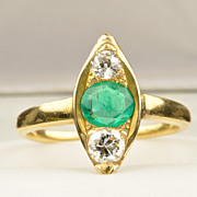 .80 Carat Victorian Emerald and Diamond Ring