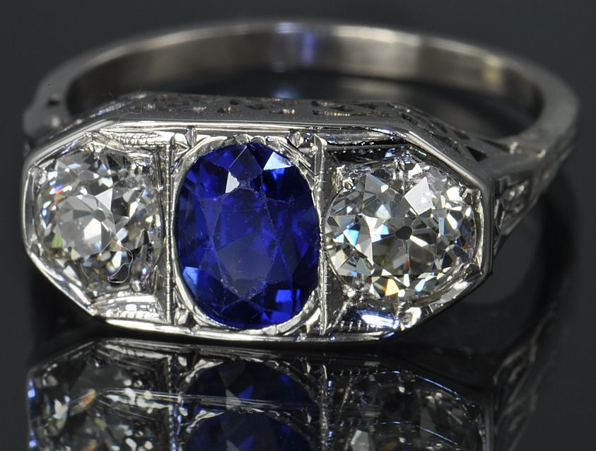 1.75 Carat Diamond and Sapphire Ring