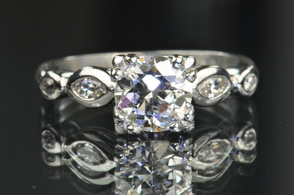 1.25 Carat Old European Cut Diamond Engagement Ring