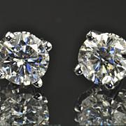 SALE 2.01 Carat Diamond Stud Earrings / EGL Certified