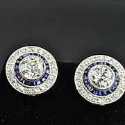 3 Carat Old European Diamond and Sapphire Earrings / PRICE REDUCED!!