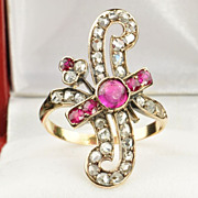 1.6 Diamond and Ruby Victorian Ring / CLEARANCE SALE!!