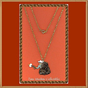1980 Lone Ranger with Gun Drawn Charm Pendant Necklace, Mint