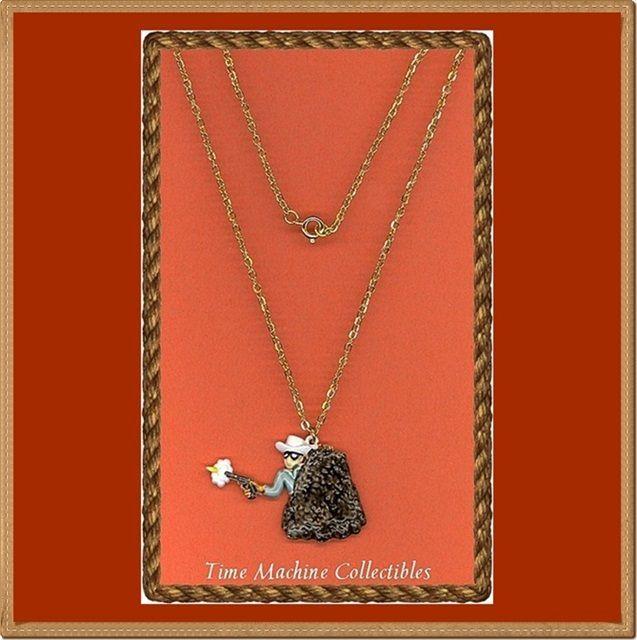1980 Lone Ranger with Gun Drawn Charm Pendant Necklace, Mint