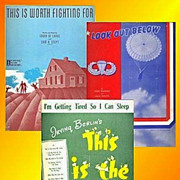 Three Pieces WWII Era Sheet Music, Look Out Below and More, Marked Over 50% Off