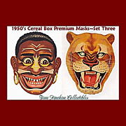 1950's Native Warrior & African Lion Masks--Cereal Box Premium, Marked 50% Off