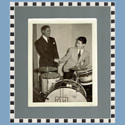 Rare Count Basie Photo with Russ Hager, Drummer, Marked Over 50% Off