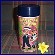 1973 Raggedy Ann and Andy Plastic Thermos by Aladdin