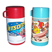 1970 Jetsons The Movie Thermos and 1971 Pebbles and Bamm-Bamm Thermos, both Plastic