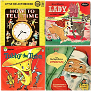 Seven 1950's-1960's Kiddie Records, Space Songs, Tubby Tuba, How To Tell Time, Mother Goose Songs