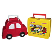 1980's Take Care Be Aware with Thermos & Red Car Plastic Lunchboxes
