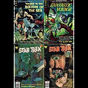 Four Sci-fi Comics, 1966 Voyage To The Bottom Of The Sea, No. 4, 1969 Fantastic Voyage, No. 2, & Two Star Trek Comics, 1978, Nos. 51 & 53