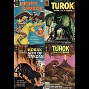 1975 Mighty Samson Comic, No. 30, 1964 Korak Son of Tarzan, No. 4, & Two Turok Son of Stone, 1961, No. 25; 1979, No. 123