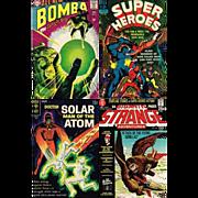 1967 Super Heroes Comic, No. 3, 1968 Bomba Comic, No. 6, 1969 Doctor Solar Comic, No. 27, & 1971 Strange Adventures Comic, No. 231
