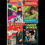 Four TV Adventure Comics, 1958 Casey Jones, 1964 Burke's Law, 1967 Tarzan, and 1974 Adam-12