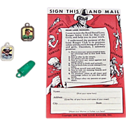 1939 Lone Ranger Safety Card & Three 1950's Gumball Charms