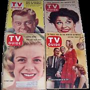 Four 1950's & 1960's TV Guides, Arthur Godfrey, Martha Raye, Rosemary Clooney, Stars of Peter Gunn & Mr. Lucky