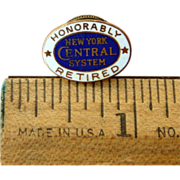 """New York Central Railroad """"Honorably Retired"""" Service Pin"""