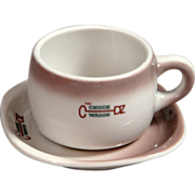 CB&Q Railroad China Chuck Wagon Cup & Saucer Set
