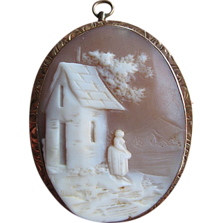 SALE Lovely Antique 10K Gold Cameo Pin/Pendant, Rebecca at the Well