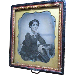 SALE Beautiful Young Woman, Drop Earrings, Lace Collar, Blushed Cheeks Daguerreotype , Lovely