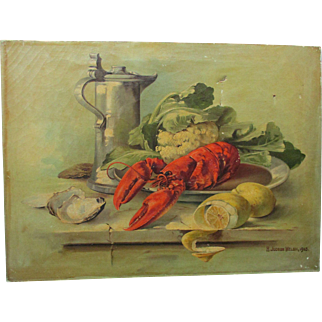 1903 Lovely pair of Antique Paintings, Still Life, Lobster, Vegetables, Grapes, Roses