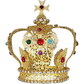 Large Religious Santos Royal Crown Antique French Gilded Brass Filigree