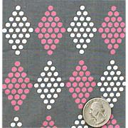 Vintage Fabric 1950s - 1960s Pink and White Polka Dots On Gray Upholstery Weight