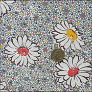 Vintage Flour Sack Cotton Fabric Gray Mauve Floral Quilting Fabric