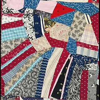 Rare Large Antique Cotton Crazy Quilt 1870 - 1890 Textile Art