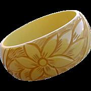 Extra Wide Bakelite Bangle Bracelet Deeply Carved Creamed Corn