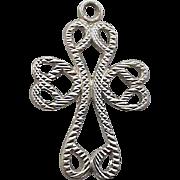 Sterling Silver Bracelet Charm Crucifix Cross in Hearts .925